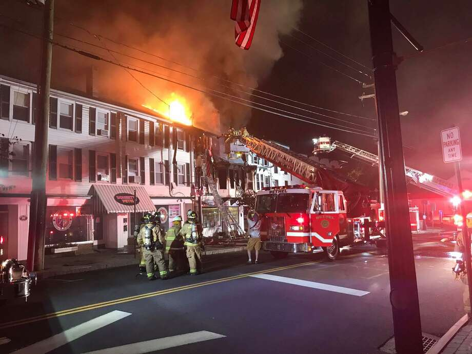 Bethel and Stony Hill firefighters and numerous mutual aid companies responded to a structure fire on Greenwood Avenue in downtown Bethel just after 1 a.m. on Thursday, July 13, 2017. Photo: Stony Hill Volunteer Fire Co. Photo