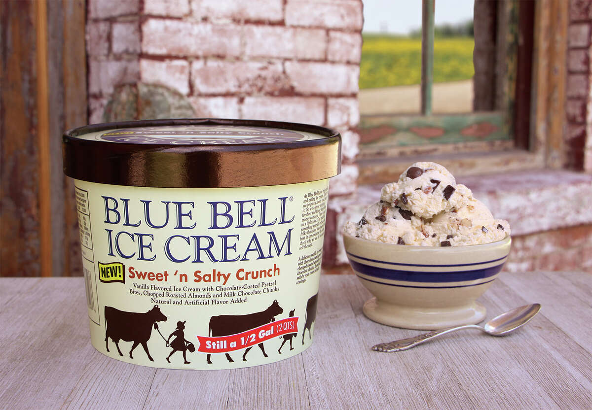 PHOTOS: Blue Bell ice cream flavors that are in stores now ... Inspired by popular snack mixes found elsewhere in your favorite grocery store, Blue Bell's newest ice cream flavor, Sweet 'n Salty Crunch, features a vanilla ice cream base with chocolate-coated pretzel bites, chopped roasted almonds and milk chocolate chunks. See what other Blue Bell flavors you can find in stores now ...