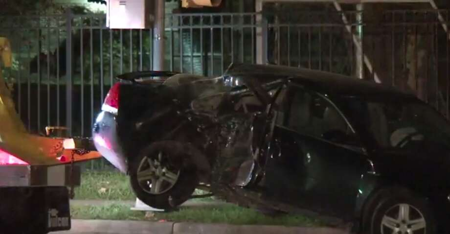 A motorcyclist is dead after slamming into a car Wednesday evening in north Houston. (Metro Video) Photo: Metro Video
