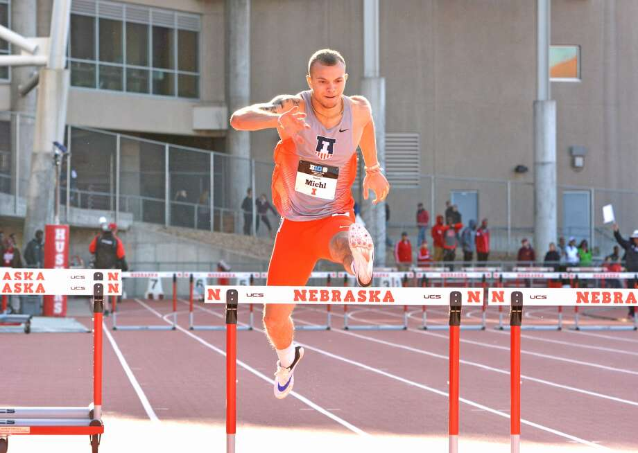 Isaiah Michl, a 2015 Edwardsville graduate, competes for the University of Illinois in the 400-meter hurdles during a meet this spring at the University of Nebraska.