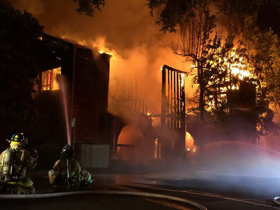A large fire in Lafayette late Wednesday gutted the Chamber of Commerce and an adjoining Italian restaurant, officials said. Photo: KTVU /  Julie Haener