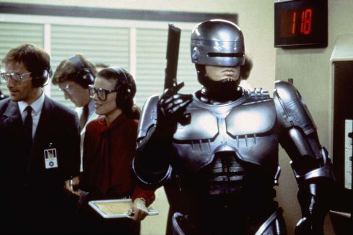 American actor Peter Weller on the set of RoboCop, directed by Paul Verhoeven. (Photo by Orion Pictures Corporation/Sunset Boulevard/Corbis via Getty Images)