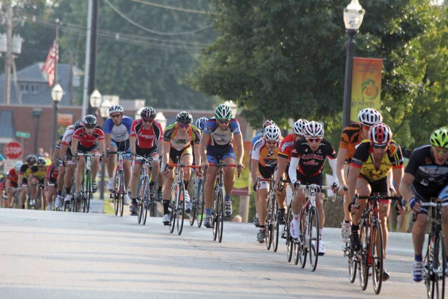 Cyclists roll through downtown Edwardsville during a previous Criterium. Photo: Intelligencer Photo