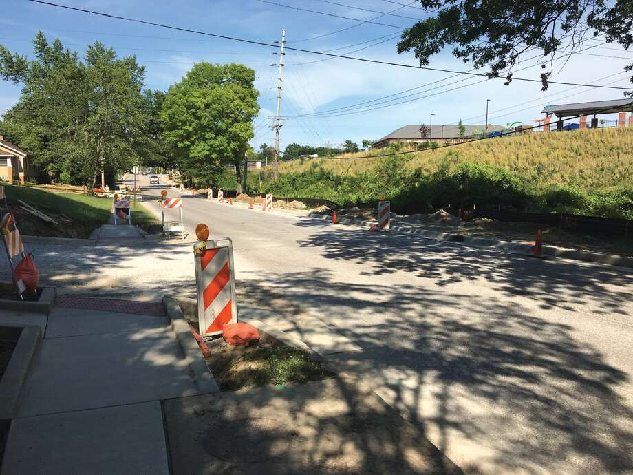Work continues on the Schwarz Street reconstruction project. Once at risk of being halted if state government did not produce a budget, the project is now back on track and is expected to be completed in August. The project includes sidewalk, storm sewer, curb and gutter, and resurfacing of the asphalt pavement. Photo: Bill Tucker