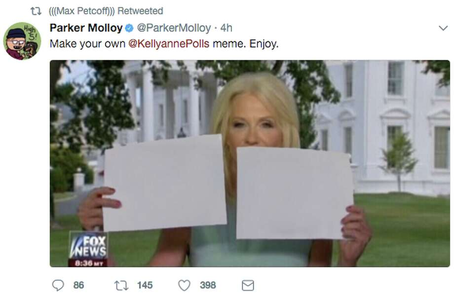 After Kellyanne Conway appeared on Hannity with large flashcards as visual aids, Twitter users began memeing the incident, joking about everything from Jay-Z's new album, to Kevin Durant at the ESPYS, and of course, the administration itself.  Photo: @ParkerMolloy