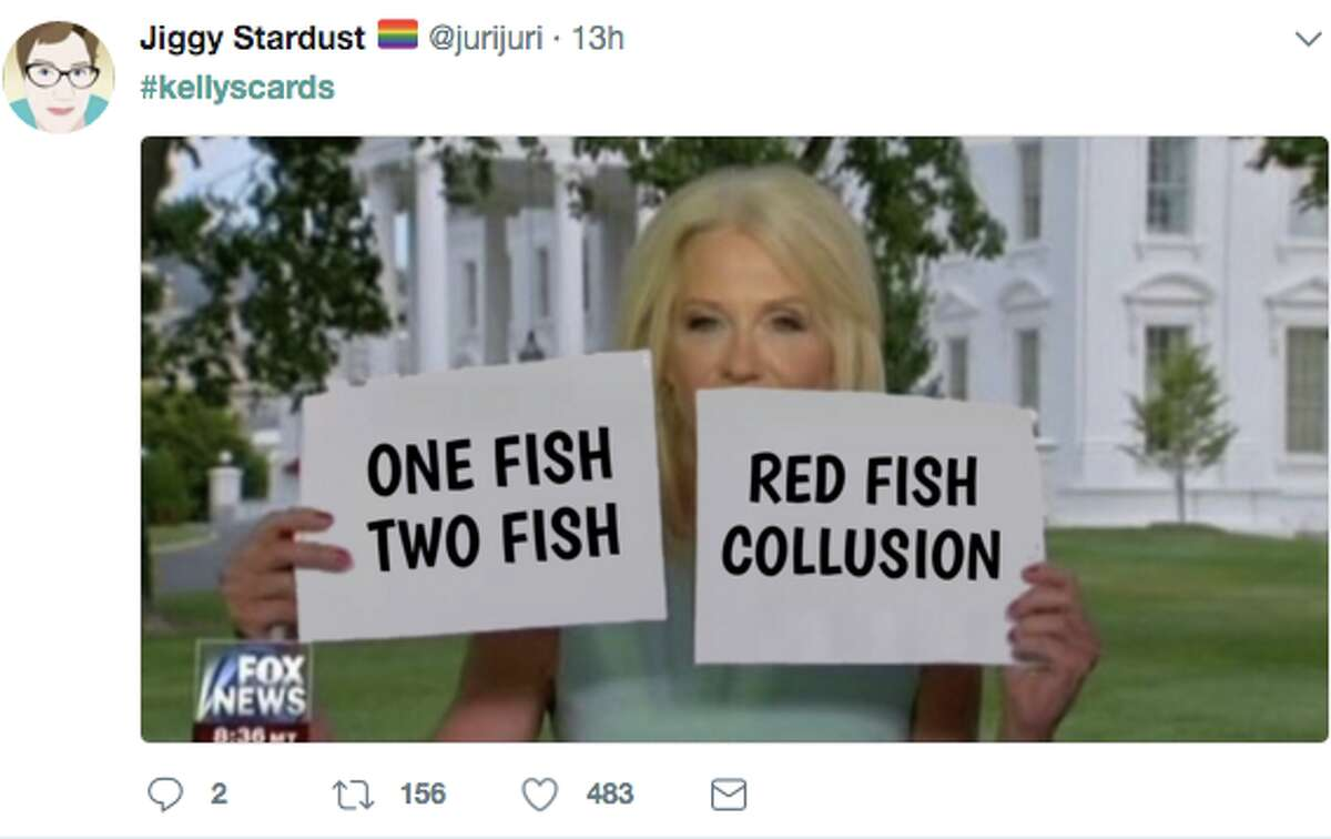 After Kellyanne Conway appeared on Hannity with large flashcards as visual aids, Twitter users began memeing the incident, joking about everything from Jay-Z's new album, to Kevin Durant at the ESPYS, and of course, the administration itself.