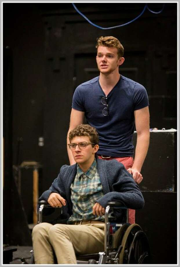 "Rising junior Antonio Antonelli, with alum Christian Melhuish in Staples Players' production of ""Working."" Photo: Contributed Photo"