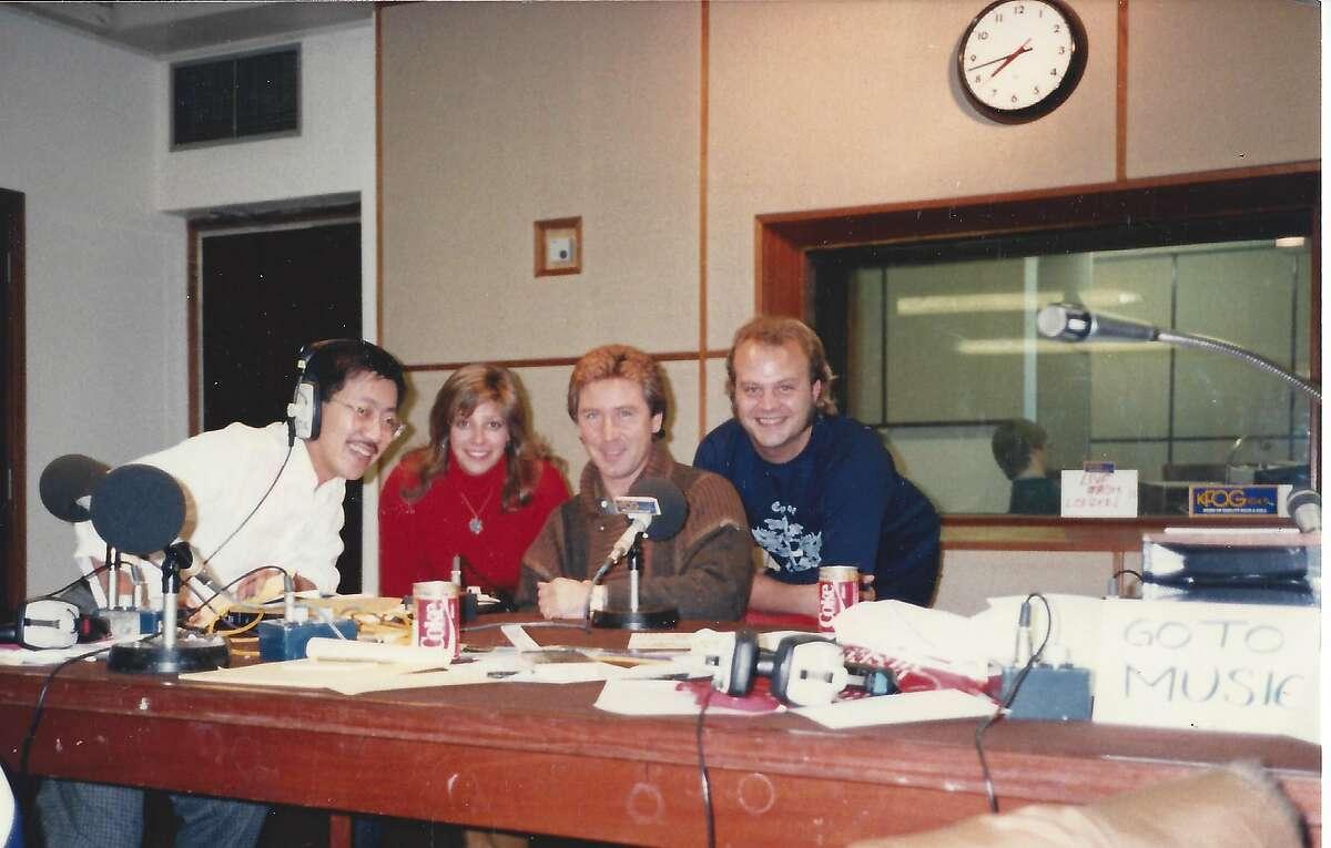 At Capital Radio, in London. Left to right: Ben Fong-Torres, Trish Robbins, Kenney Jones, and Mike Slavko (aka M. Dung). Photo: John Rivers