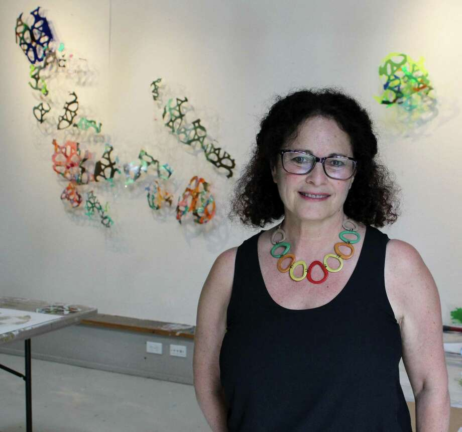 Installation artist and curator Debbie Hess, of Branford, at Weir Farm's artist studio on Wednesday, July 12, 2017. Photo: Stephanie Kim / Hearst Connecticut Media