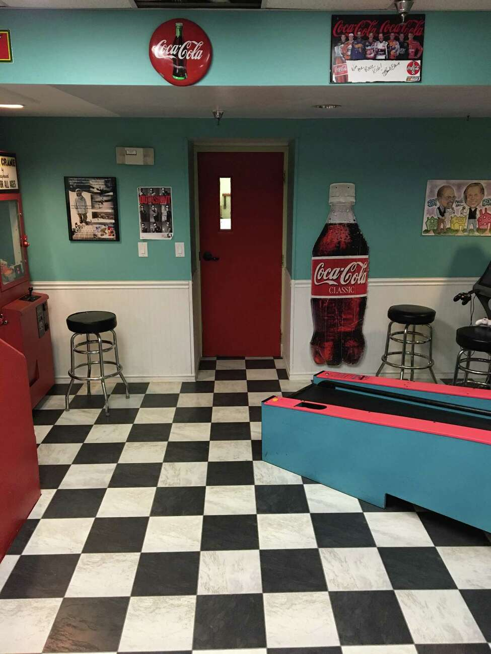 The 1950s diner portion of the basement space was made over into an 1980s style arcade by the 2017 class of Leadership Tech Valley. (Photo: Lee Owens)