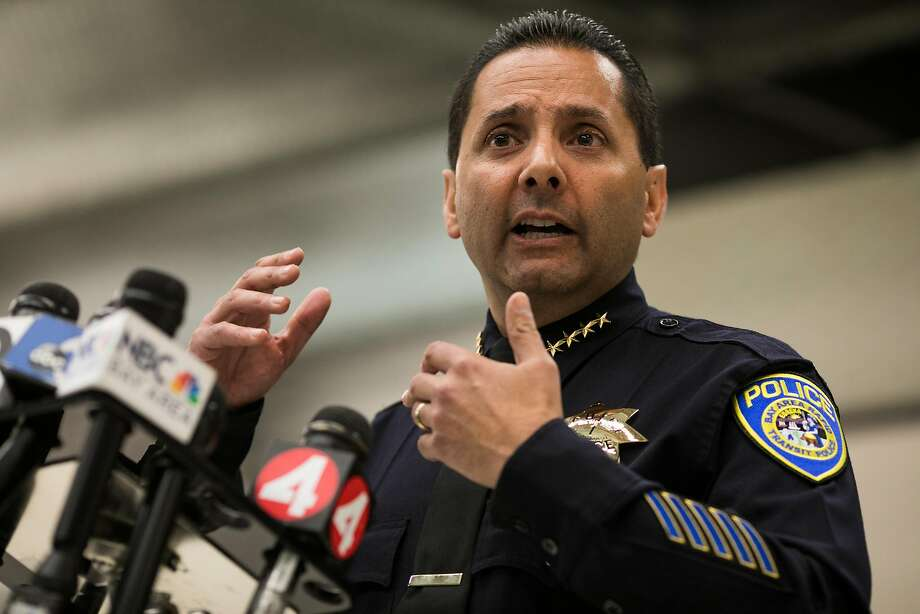 BART's Chief of Police, Carlos Rojas, talks during a press conference at Powell Street BART stations in San Francisco, Calif. Thursday, July 13, 2017. Photo: Mason Trinca, Special To The Chronicle