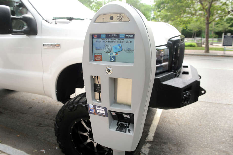 One of the new electronic parking meters recently installed in downtown Bridgeport, Conn. July 13, 2017. Photo: Ned Gerard, Hearst Connecticut Media / Connecticut Post