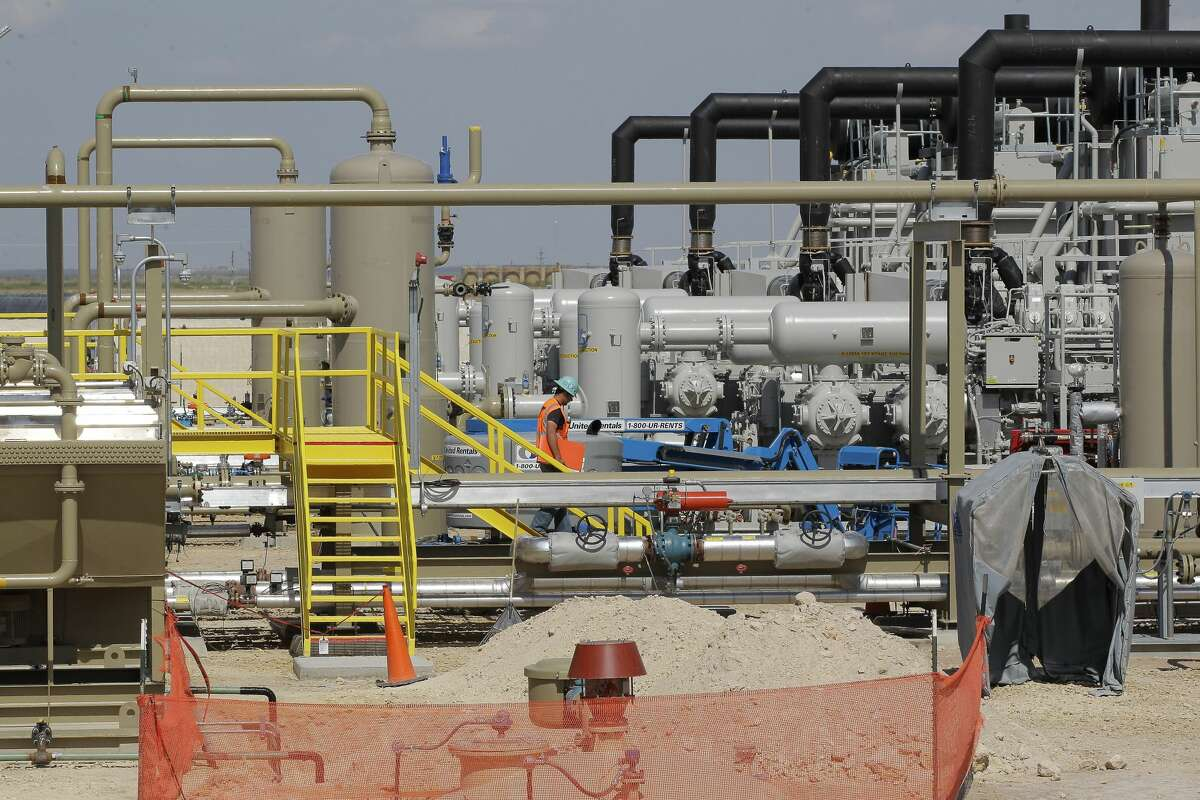 Noble Energy fracturing Monday, June 26, 2017, in Pecos. Massive pumps borne on a dozen trucks shook the earth on the outskirts of Midland, blasting a cocktail of water and sand deep underground to break apart dense rock and release a wellspring of oil and gas. Hydraulic fracturing operations like Noble Energy here in West Texas have set off the second U.S. oil boom in a decade, this time delivering heavier payloads in more prolific regions, and countering efforts by OPEC to curb the world's oil glut and weighing on prices. It's an operation at the heart of a resurgent U.S. oil industry that's bringing back jobs in regions that had waned in the downturn. ( Steve Gonzales / Houston Chronicle )