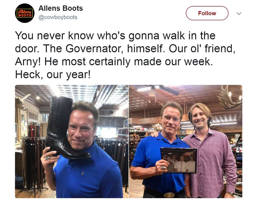 Boot buyingArnold Schwarzenegger is in Texas this week and has been spotted hitting up some Austin favorites, like Allens Boots.Click through to see Cowboy boot buying tips from boot-makers.@cowboyboots