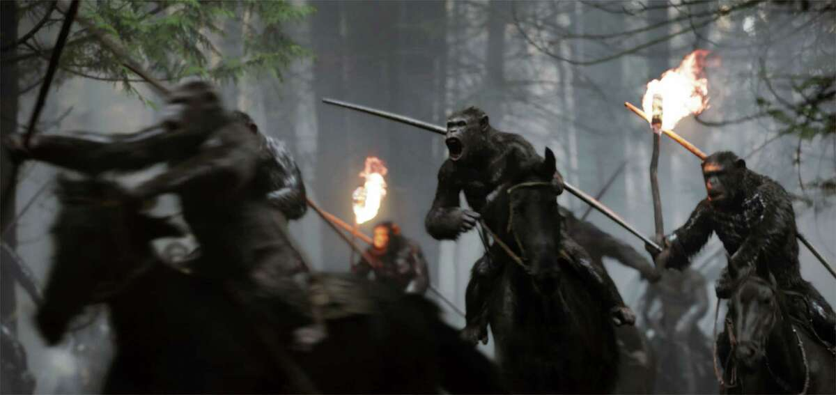 """This image released by Twentieth Century Fox shows a scene from, """"War for the Planet of the Apes."""" (Twentieth Century Fox via AP)"""