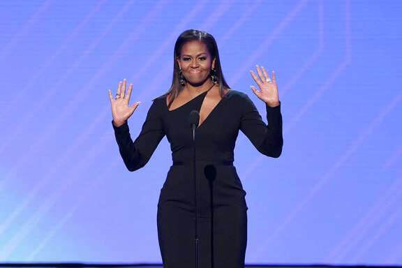 LOS ANGELES, CA - JULY 12:  Former First Lady Michelle Obama speaks onstage at The 2017 ESPYS at Microsoft Theater on July 12, 2017 in Los Angeles, California.