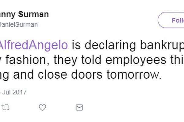@DanielSurman: So @AlfredAngelo is declaring bankruptcy. In crappy fashion, they told employees this morning and close doors tomorrow.