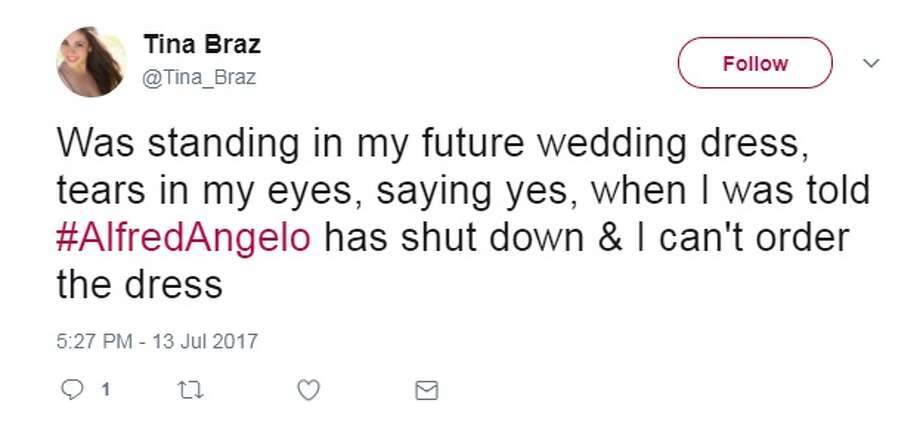 @Tina_Braz: Was standing in my future wedding dress, tears in my eyes, saying yes, when I was told #AlfredAngelo has shut down & I can't order the dress Photo: Twitter.com