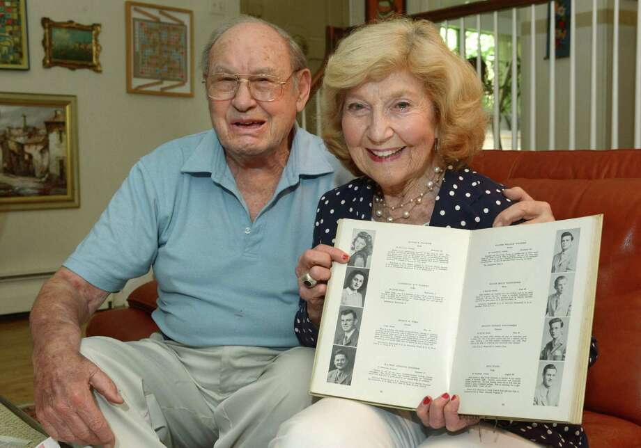 Co-chairs for the Norwalk High School class of 1947 Reunion Committee, Charles Stabinsky and Elaine Arno, at Stabinsky's residence on Thursday in Norwalk. Stabinsky and Arno graduated from Norwalk High School in 1947 with a class of roughly 350 and are are hoping that as many as 125 graduates will show up to celebrate this September. Photo: Erik Trautmann / Hearst Connecticut Media / Norwalk Hour