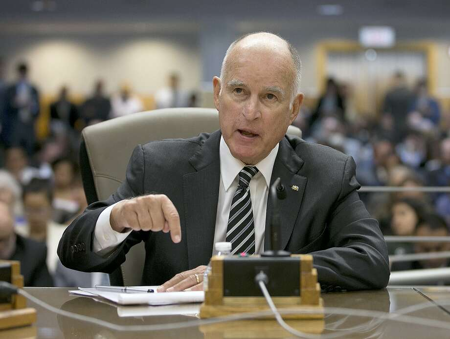 California Gov. Jerry Brown testifies in support of Assembly Bill 398, one of two bills to extend the state's cap and trade program, at a hearing of the Senate Environmental Quality Committee. Photo: Rich Pedroncelli, Associated Press