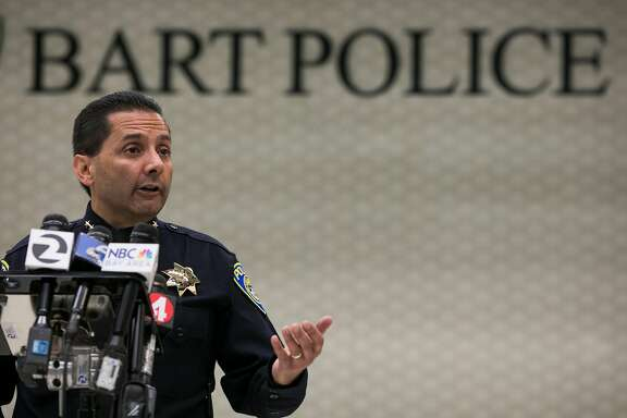 BART's Chief of Police, Carlos Rojas, talks during a press conference at Powell Street BART stations in San Francisco, Calif. Thursday, July 13, 2017.