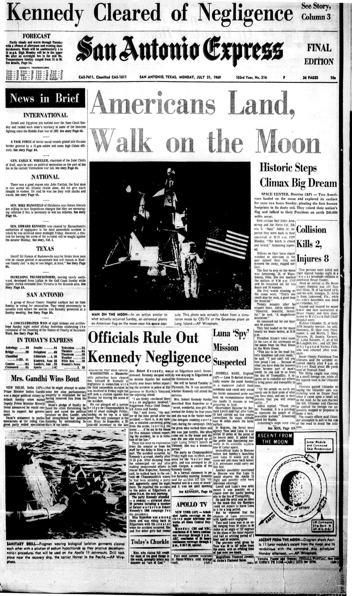 """?""""Two Americans landed on the moon and explored its surface for some two hours Sunday, planting the first human footprints in the dusty soil. They raised their nation?'s flag and talked to their President on earth 240,000 miles away.?"""""""