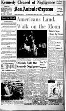 """""""Two Americans landed on the moon and explored its surface for some two hours Sunday, planting the first human footprints in the dusty soil. They raised their nation's flag and talked to their President on earth 240,000 miles away."""""""