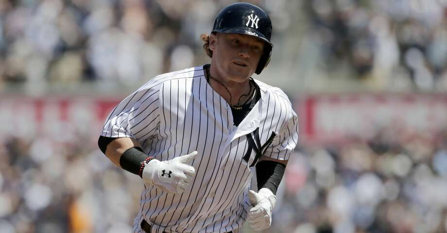 New York Yankees' Clint Frazier rounds the bases after hitting a two-run home run during the fourth inning of a baseball game against the Milwaukee Brewers at Yankee Stadium, Sunday, July 9, 2017, in New York. (AP Photo/Seth Wenig) Photo: Seth Wenig/Associated Press