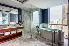 Large, light-filled bathrooms are part of the appeal of Colombia�s InterContinental Cartagena de Indias.