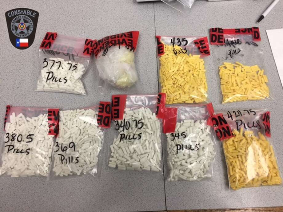 Montgomery police recently discovered 748 grams of Xanax hidden inside the hood of a car. Police arrested two 24-year-old males and charged them with manufacturer/delivery of a controlled substance. Photo: Montgomery County Constable Precinct 4