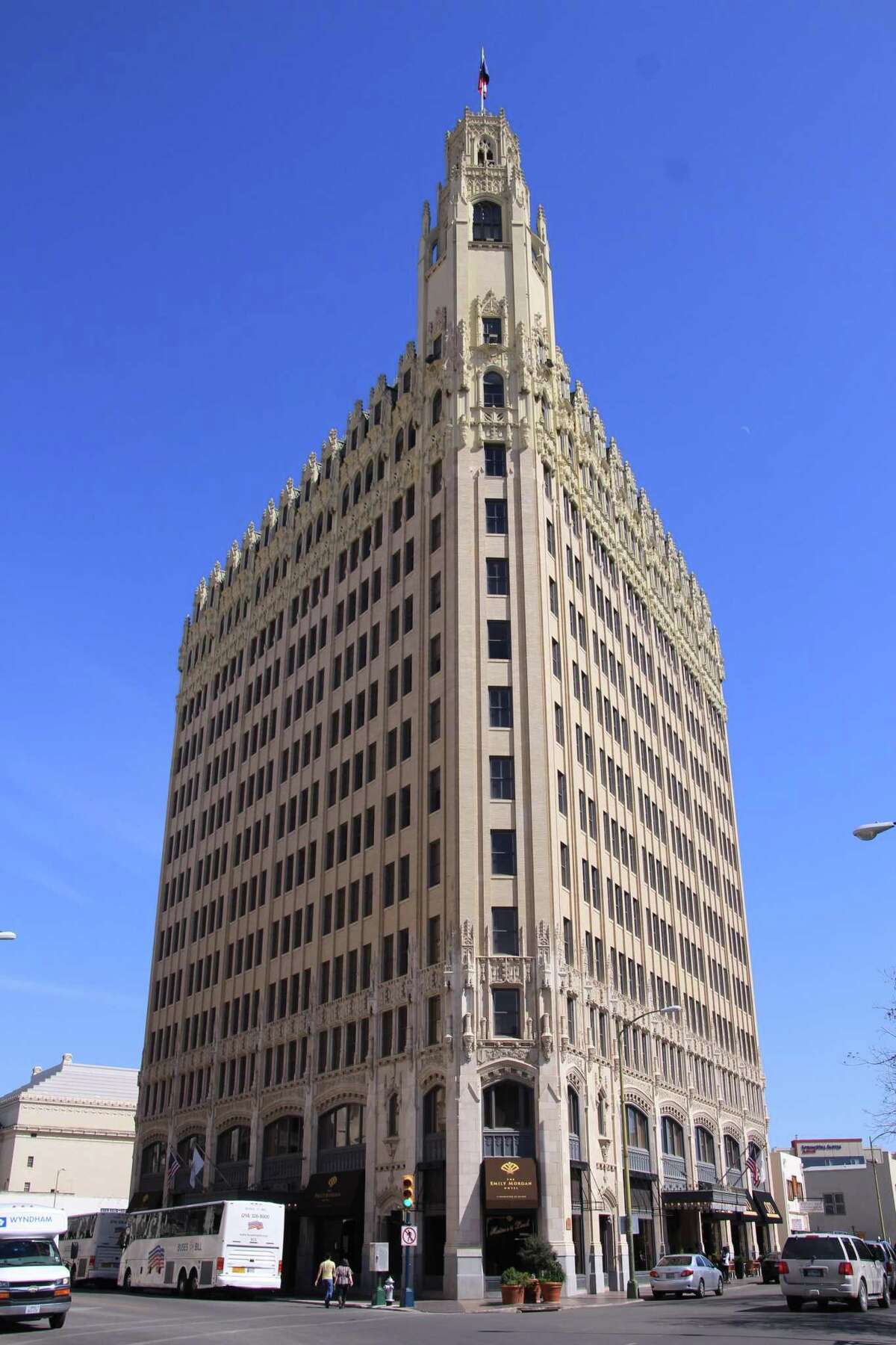 The Tower Life, Emily Morgan (pictured), and Express-News buildings were all constructed during a building boom of the 1920s.