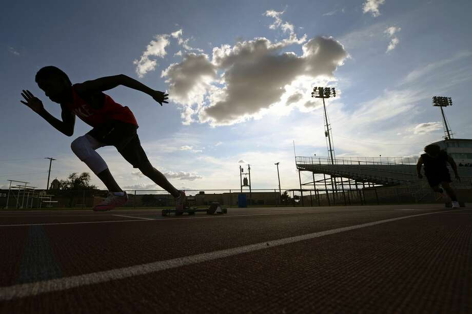Amariane Rico practices leaving the blocks July 13, 2017, at Memorial Stadium in preparation for the Games of Texas regional track meet taking place July 14-15.  James Durbin/Reporter-Telegram Photo: James Durbin