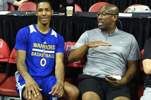 LAS VEGAS, NV - JULY 12:  Patrick McCaw #0 of the Golden State Warriors talks with associate head coach Mike Brown of the Warriors after the team defeated the Minnesota Timberwolves 77-69 during the 2017 Summer League at the Thomas & Mack Center on July 12, 2017 in Las Vegas, Nevada. NOTE TO USER: User expressly acknowledges and agrees that, by downloading and or using this photograph, User is consenting to the terms and conditions of the Getty Images License Agreement.  (Photo by Ethan Miller/Getty Images)