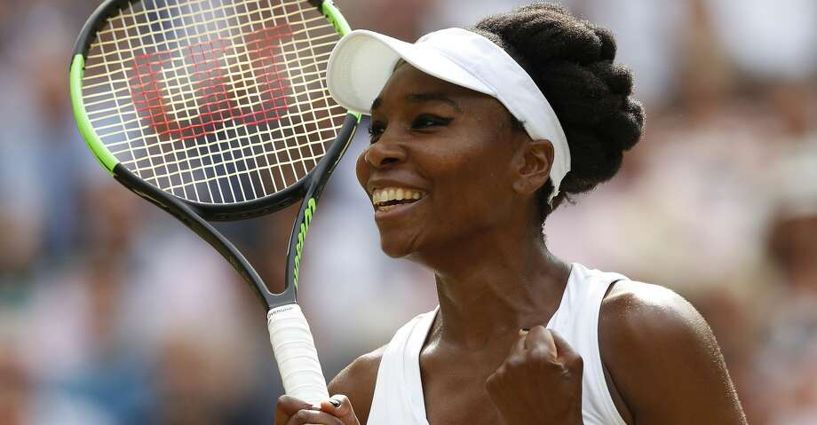 TOPSHOT - US player Venus Williams celebrates beating Britain's Johanna Konta during their women's singles semi-final match on the tenth day of the 2017 Wimbledon Championships at The All England Lawn Tennis Club in Wimbledon, southwest London, on July 13, 2017. Williams won 6-4, 6-2. / AFP PHOTO / Adrian DENNIS / RESTRICTED TO EDITORIAL USEADRIAN DENNIS/AFP/Getty Images Photo: ADRIAN DENNIS/AFP/Getty Images