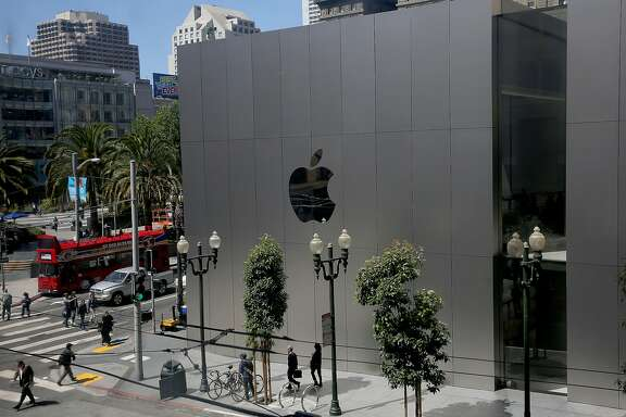 View of the Apple Store at Union Square on Tuesday, July 11, 2017, in San Francisco, Calif.