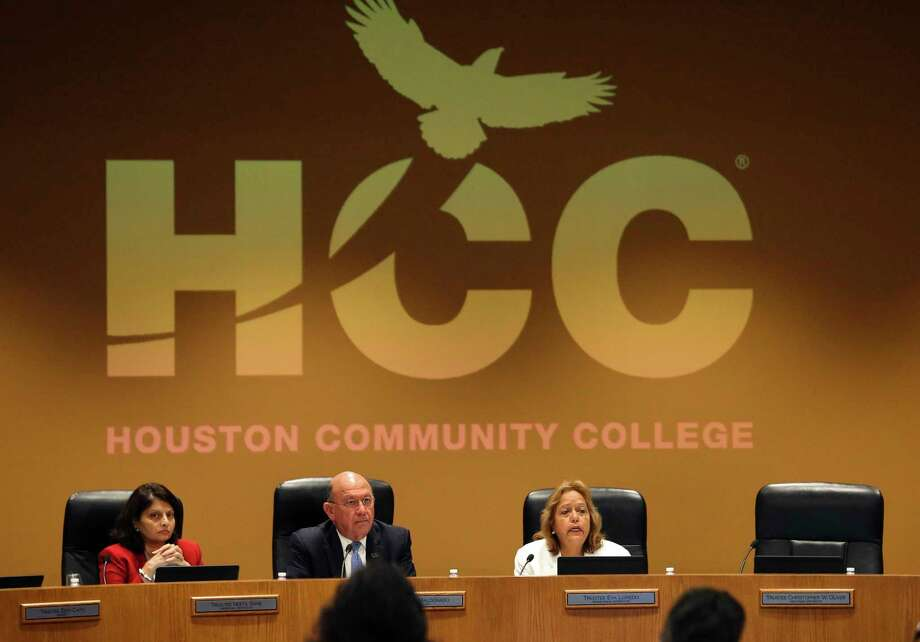Christopher W. Oliver, Houston Community College Trustee District IX, does not make appearance and his seat is empty during a HCC board of trustees special meeting at the HCC Administration Buildling Thursday, July 13, 2017, in Houston. Oliver pleaded guilty to a federal charge of bribery related to his HCC work last Friday. Photo: Yi-Chin Lee, Houston Chronicle / © 2017  Houston Chronicle