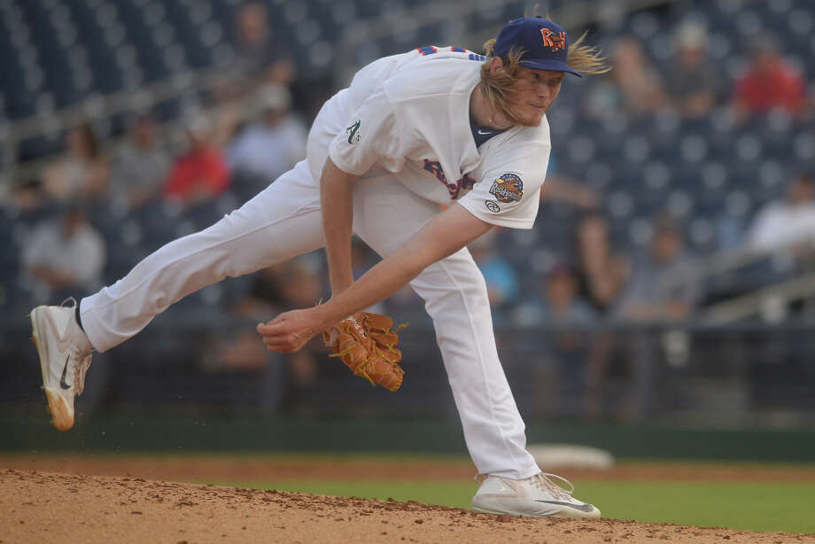 RockHounds starting pitcher A.J. Puk throws against Corpus Christi on July 3, 2017, at Security Bank Ballpark.  James Durbin/Reporter-Telegram Photo: James Durbin