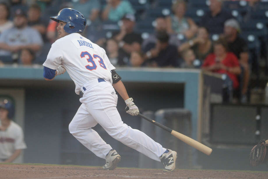 RockHounds' Tyler Ramirez (33) hits against Corpus Christi on July 3, 2017, at Security Bank Ballpark.  James Durbin/Reporter-Telegram Photo: James Durbin