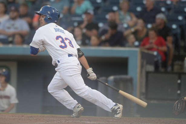 RockHounds' Tyler Ramirez (33) hits against Corpus Christi on July 3, 2017, at Security Bank Ballpark.  James Durbin/Reporter-Telegram