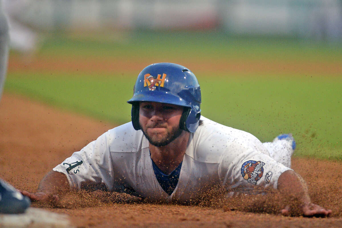 RockHounds' Max Schrock (20) is forced out at third base during the game against Corpus Christi on July 3, 2017, at Security Bank Ballpark. James Durbin/Reporter-Telegram