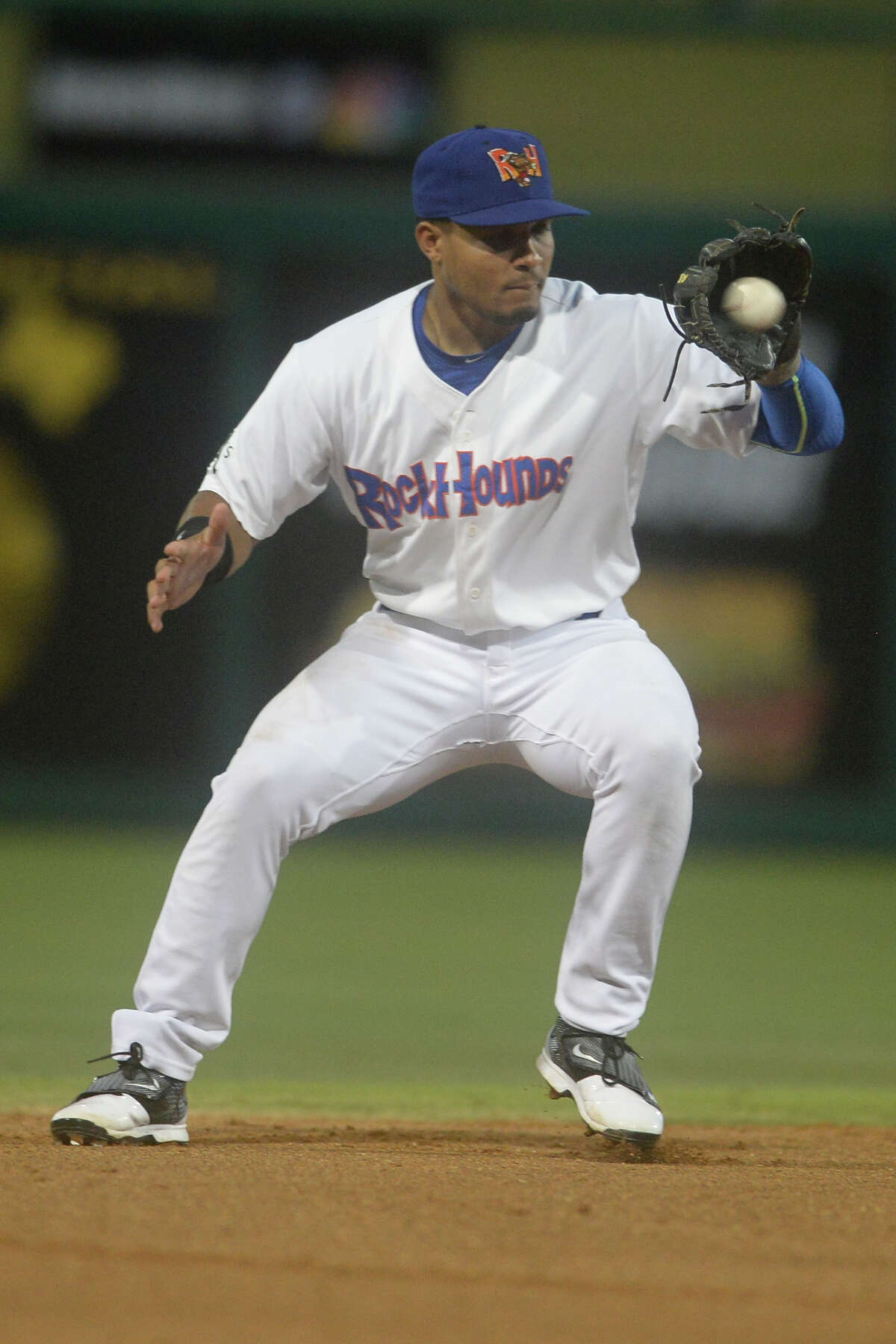 RockHounds shorstop Richie Martin (12) fields a hit from Corpus Christi on July 3, 2017, at Security Bank Ballpark. James Durbin/Reporter-Telegram