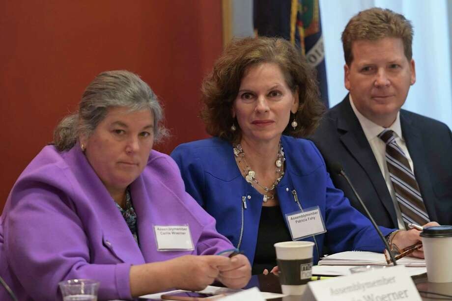 Assemblymember Patricia Fahy, center chaired the Smart Cities Legislative Forum which featured presenters from government, business, and community organizations, including several local mayors such as Albany Mayor Kathy Sheehan and Schenectady Mayor Gary McCarthy. Additionally, Fahy will was joined by her Assembly colleagues: Assemblymember John T. McDonald III, Assemblymember Phil Steck, Assemblymember Angelo Santabarbara, and Assemblymember Carrie Woerner. The forum focused on efficiencies, barriers, and solutions to cities fully utilizing smart technologies. Tuesday Nov. 15,  2016 at the State Capitol in Albany, New York.  (Skip Dickstein/Times Union) Photo: SKIP DICKSTEIN / 20038819A