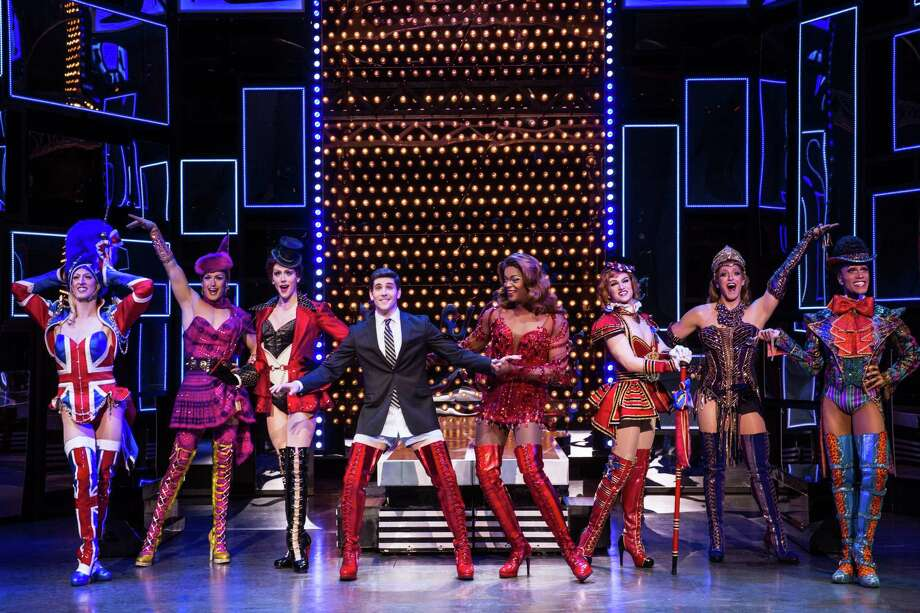 "Adam Kaplan, left center, and J. Harrison Ghee, right center, lead the cast of ""Kinky Boots."" Photo: Matthew Murphy"