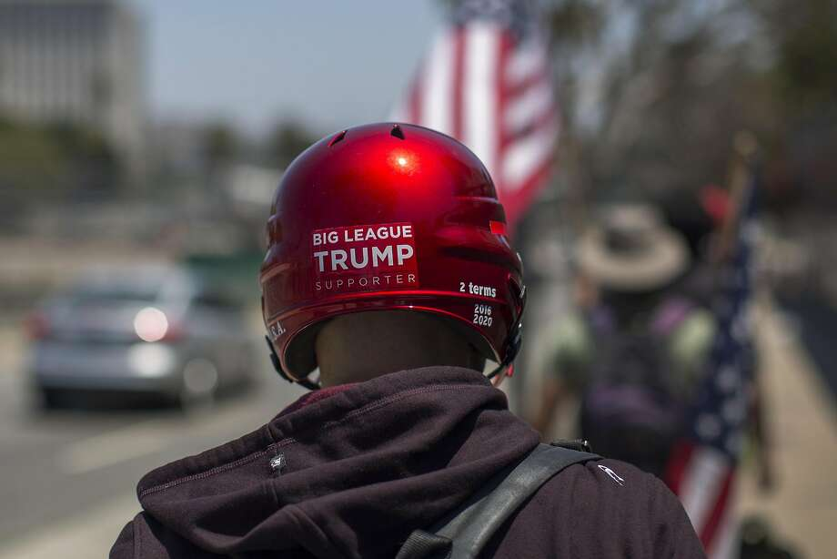 A supporter of President Trump in Los Angeles on July 2. Photo: David McNew, Getty Images
