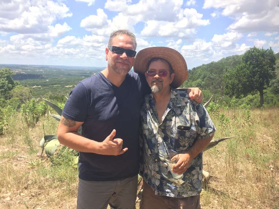 "Former ""American Chopper"" reality star Robb Ortel poses with his subject, dirty car artist Scott Wade, during the Blanco shoot for a new series 'Art Attack.' They plan to shoot Wade's work for the extreme art series today in downtown San Antonio. Photo: Courtesy Of DAJDPR"
