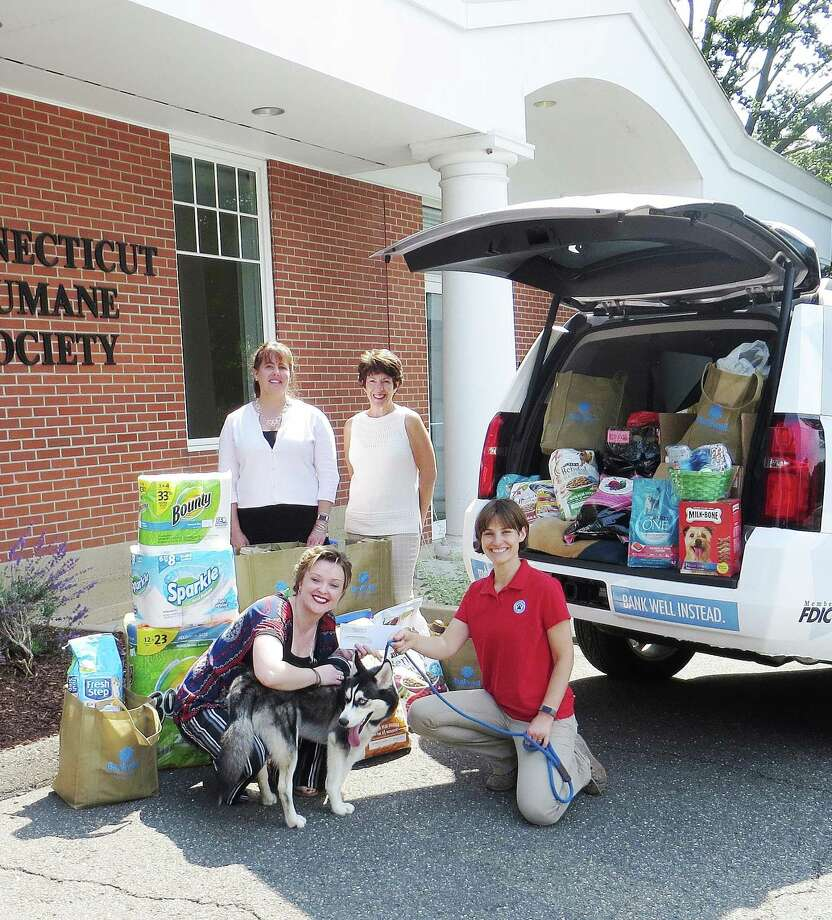 Bankwell unloads pet supplies at the CT Humane Society in Westport June 30. From left: Bankwell Wilton Branch Manager Ann Mitrione, Executive Assistant to Bankwell CEO Lynne Gomez, Bankwell Marketing Associate Lucy French and CT Humane Society Westport District Manager Bliss Kern. Photo: Contributed Photo / New Canaan News