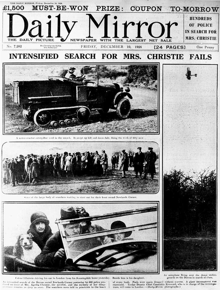 Newspapers followed the search for Agatha Christie - and her reappearance several days later.