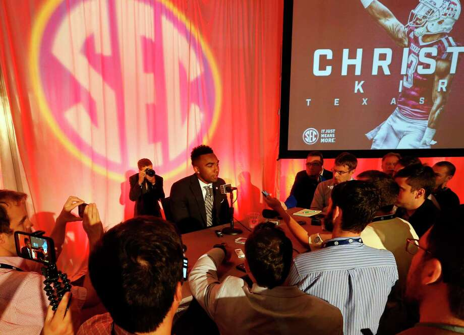 Texas A&M NCAA college football player Christian Kirk speaks during the Southeastern Conference's annual media gathering, Wednesday, July 12, 2017, in Hoover, Ala. (AP Photo/Butch Dill) Photo: Butch Dill, Associated Press / Associated Press