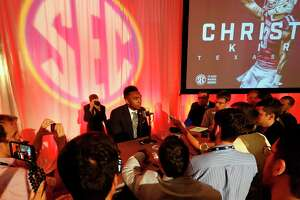 Texas A&M NCAA college football player Christian Kirk speaks during the Southeastern Conference's annual media gathering, Wednesday, July 12, 2017, in Hoover, Ala. (AP Photo/Butch Dill)