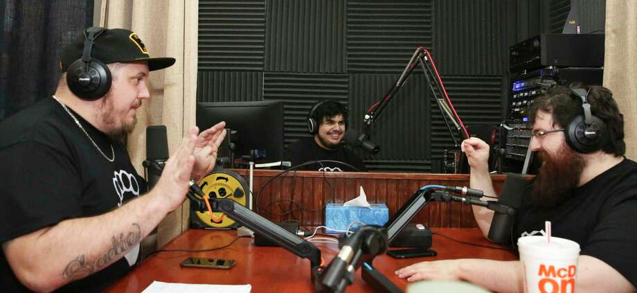 Nerd Thug Radio members Joey Kay, from left, Nico De la Guardia and Cory De la Guardia as the group records its 51st episode at Lone Star Community Radio Thursday, March 30, 2017, in Conroe. ( Yi-Chin Lee / Houston Chronicle ) Photo: Yi-Chin Lee, Staff / © 2017  Houston Chronicle
